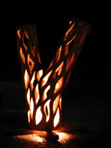 Eschenstamm tranparent mit Licht